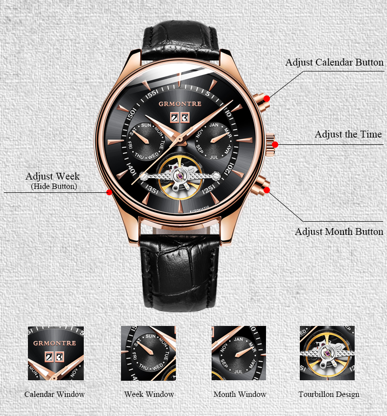 H91d77a33c2f747cfb653b20ea5d8cda3V Skeleton Tourbillon Mechanical Watch Men Automatic Classic Rose Gold Leather Mechanical Wrist Watches Reloj Hombre 2018 Luxury