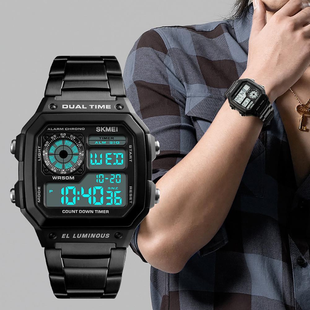 Fashion Men Sport Digital Display Square Dial Waterproof Business Office Clock Wrist Watch Men's Relogio Digital New Mas-culino