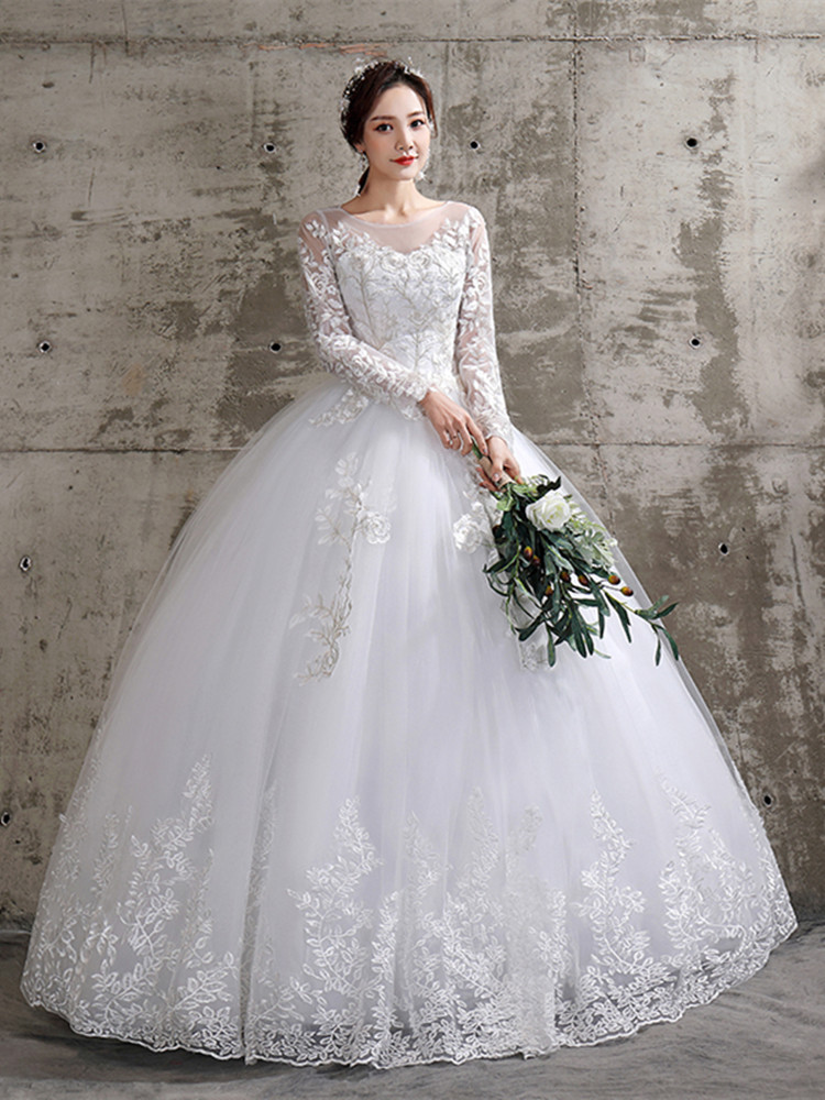 Ball-Gown Wedding-Dress Bride Embroidered Full-Sleeve Bandage Lace China Girl Cheap on