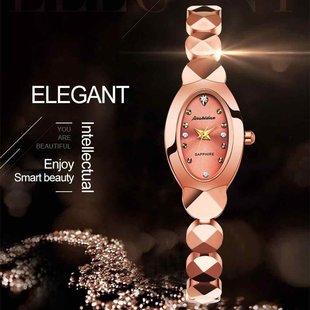 Reloj de señora reloj doble pantalla de gama alta impermeable de lujo zafiro diseño de espejo moda Casual banquete Boutique Digital Quar