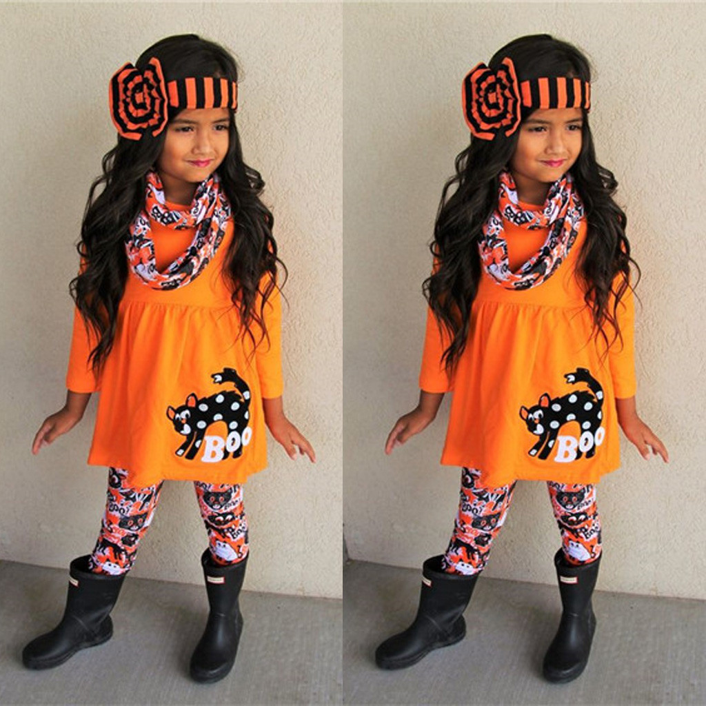 Pumpkin Top Ghost Star Long Leggings Pants Warm Scarves 3PCS Outfit Set Baby Girls Halloween Costumes