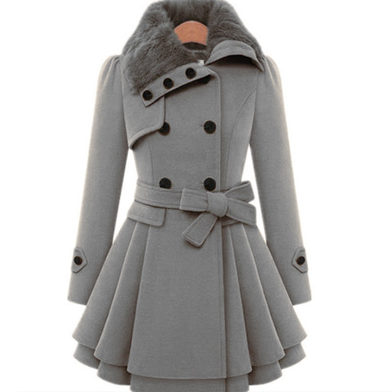 WEPBEL Womens Woolen Coat New Style Vintage Fur Collar Jacket Slim Lady Winter Outwear Plus Size S-5XL