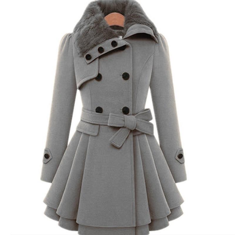WEPBEL Womens Woolen Coat New Style Vintage Fur Collar Jacket Slim Lady Winter Outwear Plus Size S-5XL