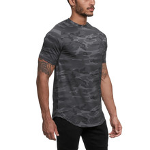 T-shirt de Sport camouflage à manches courtes pour hommes, Slim et ajusté, avec Compression, pour exercices et course à pied, 2021
