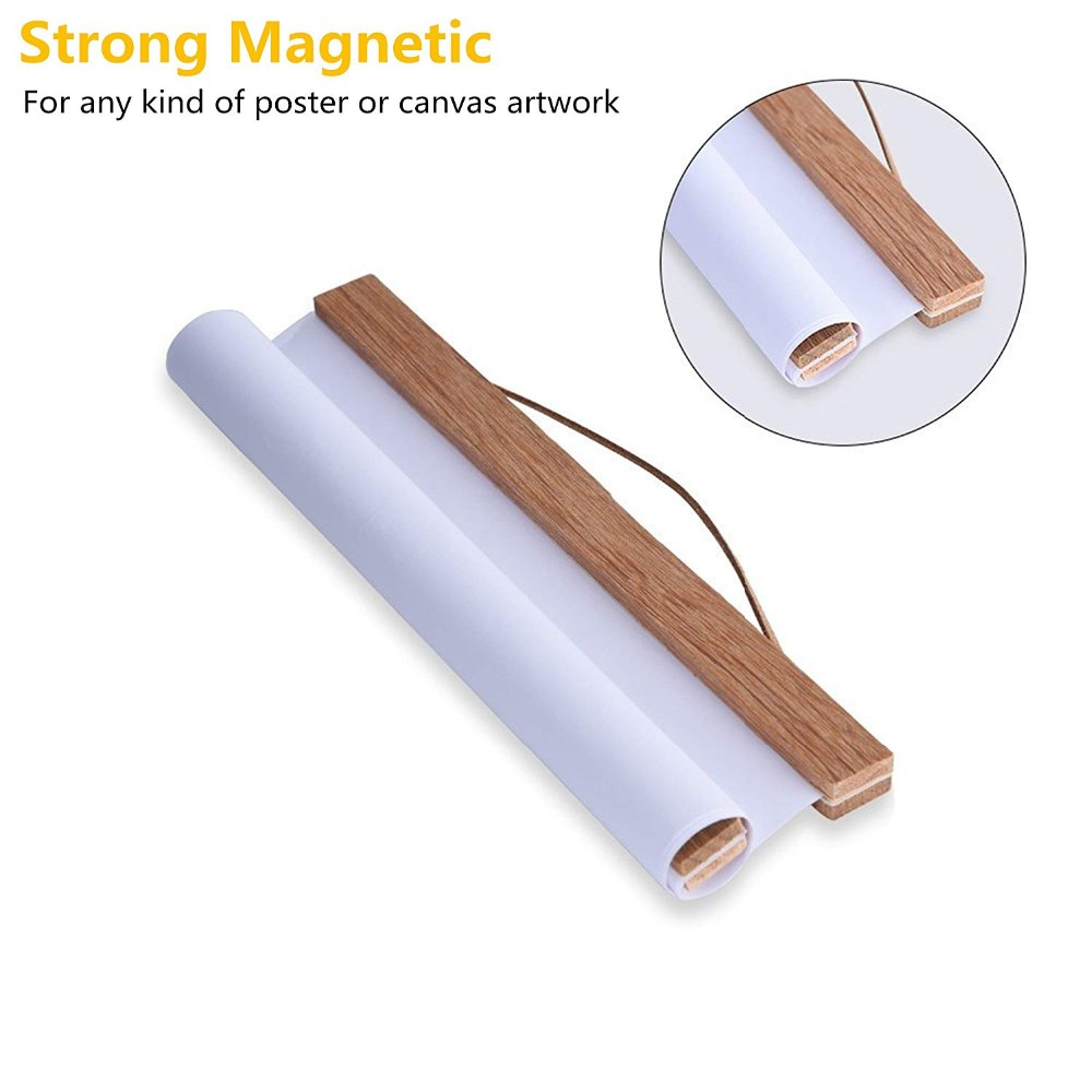 Wood Hanging Scrolls Painting Magnetic Core Hanging Olip,Solid Frame Hanger For Poster Photo Picture Simple Nordic Style