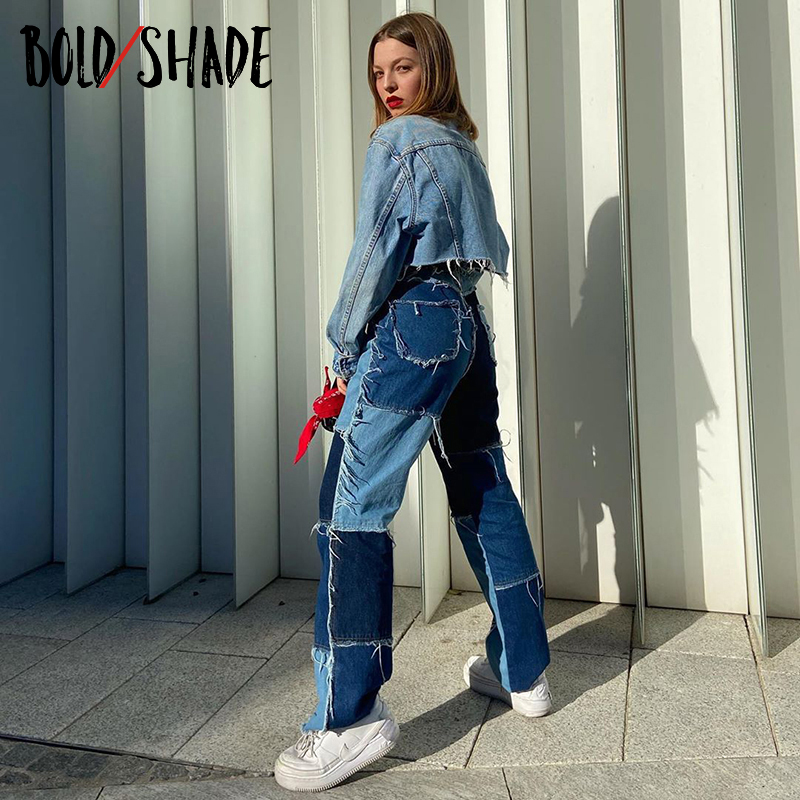 Bold Shade Y2K Patchwork Harajuku Demin Pants Skater Girl Style High Waist Vintage Fashion Jeans Women Fall E-girl 90s Trousers(China)
