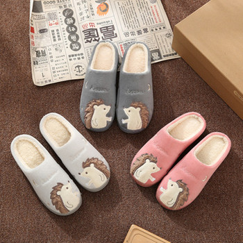 Women Slippers Cartoon Hedgehog squirrel Unicorn Slippers Winter Non-slip Fur House Indoor Outdoor Plush Ladies Shoes Men Couple 3