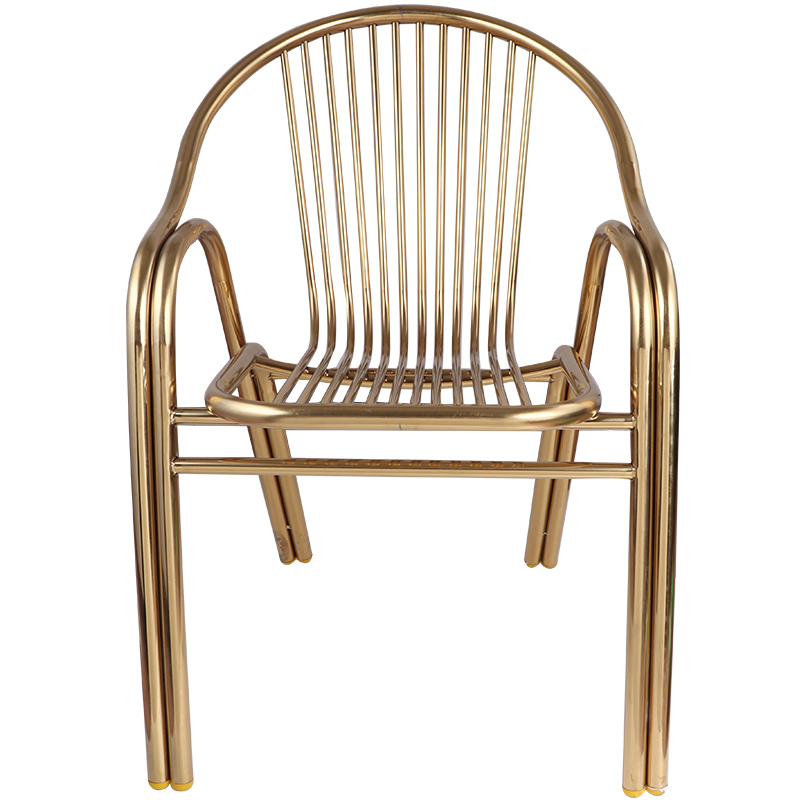 Modern Minimalist Stainless Steel Chair Backrest Home Metal Outdoor Balcony Dining Chair Single Armrest Leisure Seat