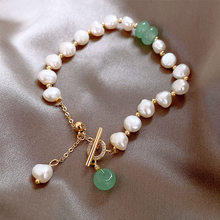 Temperamento gracioso coreano feminino acessórios moda simples barroco pérola frisado pulseira jóias feminino