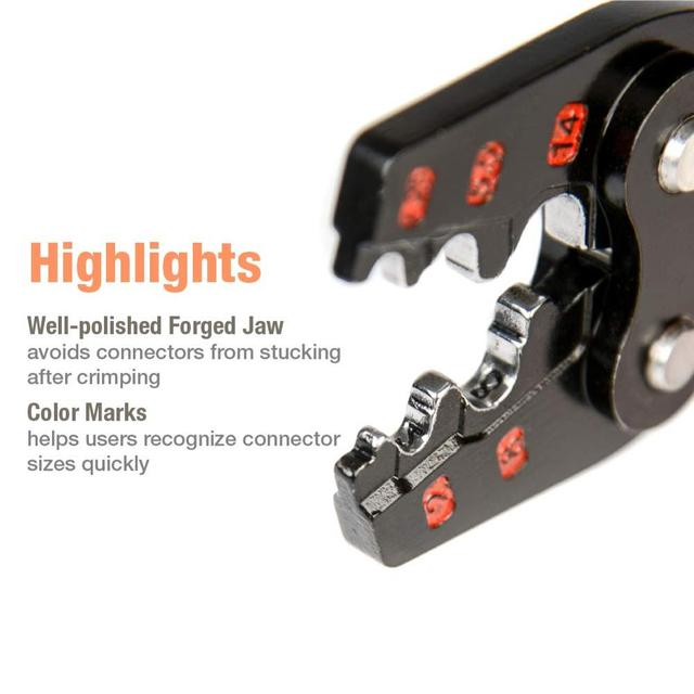 IWISS IWS-16 Ratchet Crimping Tool for Non-Insulated Terminals  from AWG 22-6 with Polished Jaw crimping pliers