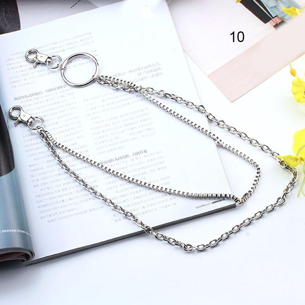 1-3 слоя рок-панк крюк брюк Брюки Пояс металлический кошелек серебряная цепь хип-хоп цепи ремни для женщин брюки аксессуары - Цвет: 10