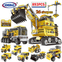 XINGBAO City 8 in 1 Engineering Vehicle Excavator Model Building Block Deformation Truck Car Tower DIY Bricks Toys for Children