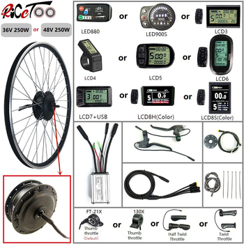 Electric Bicycle Conversion Kit 36/48V 250W Front Wheel Motor with Optional Waterproof 16-700C/Display/Throttle/PAS Ebike Parts free shipping ebike pas system pedal assistant sensor 8 magnets diy cycling conversion kit parts electric bicycle speed sensor