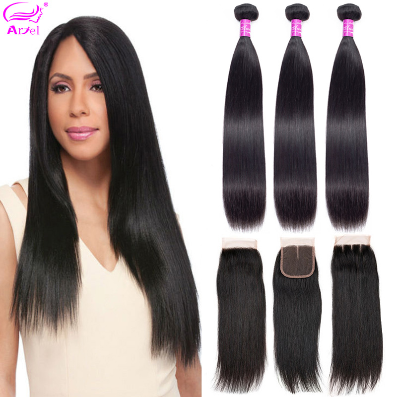 Straight Hair Bundles With Closure 30 Inch Brazilian Hair Weave 3 Bundles With Closure Remy Human Hair Bundles With Closure