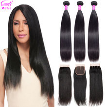 Straight Hair Bundles With Closure 30 Inch Brazilian Hair Weave 3 Bundles With Closure Remy Human Hair Bundles With Closure(China)