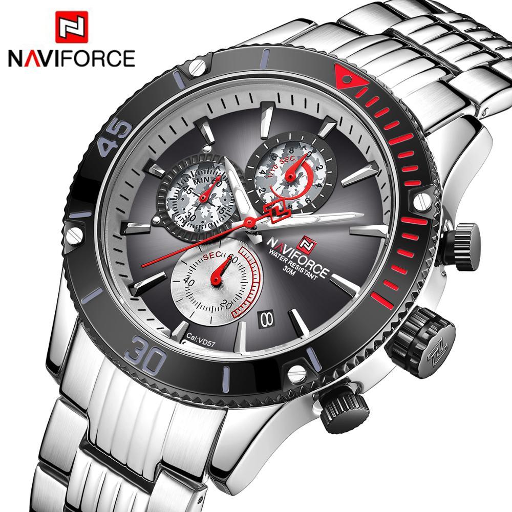 NAVIFORCE Sports Quartz Watches Men Stainless Steel Strap Waterproof Chronograph Watch Military Camouflage Dial Mens Wristwatch|Quartz Watches| |  - title=