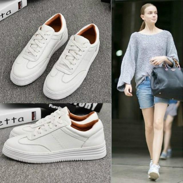 Moda branco rachado couro feminino chunky tênis sapatos brancos rendas até tenis feminino zapatos de mujer plataforma feminina casual sapato 1