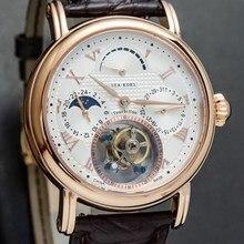Luksusowy biznes zegarek Tourbillon mężczyźni kalendarz Sapphire Dial mężczyzna ST8007 Tourbillon mechaniczne zegarki na rękę faza księżyca