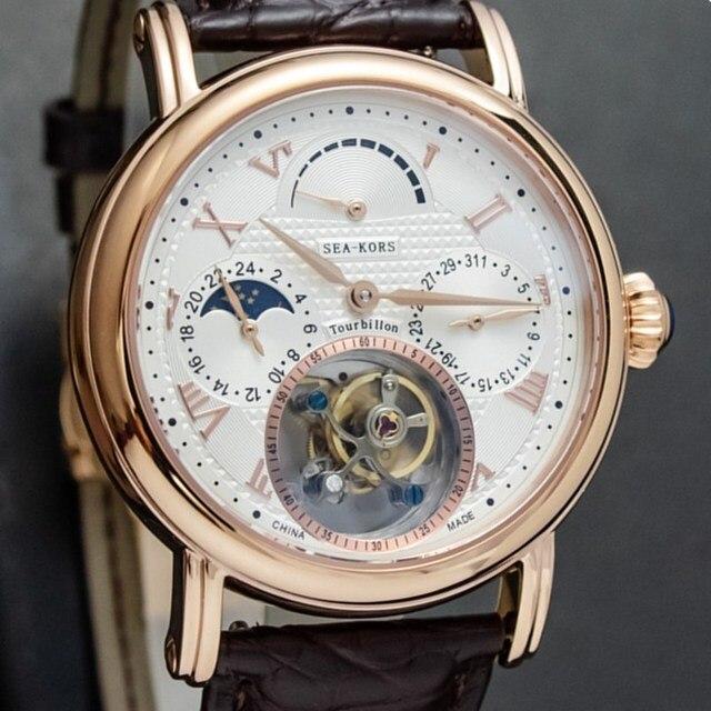 יוקרה עסקי Tourbillon שעונים גברים לוח שנה ספיר חיוג Mens ST8007 Tourbillon מכאני שעוני יד ירח שלב