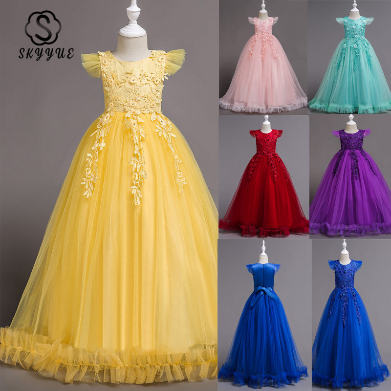 Skyyue Flower Girl Dresses 6 Colors Sleeveless Lace Embroidery Kids Party Dresses O-Neck Floor Length Zipper Pageant Dresses 833