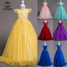 Skyyue Flower Girl Dresses 6 Colors Sleeveless Lace Embroidery Kids Party O-Neck Floor Length Zipper Pageant 833