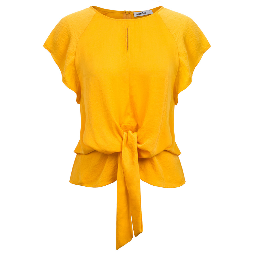 Jasambac 2020 Fashion Tops Women's Summer Short Raglan Sleeve Ladies Scoop Round Neck Tie Details Tops Solid Color  High Quality