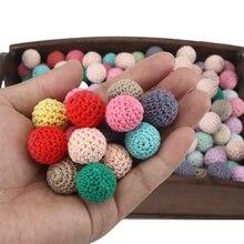 10 шт/лот 14 цветов круглые деревянные бусины для вязания крючком