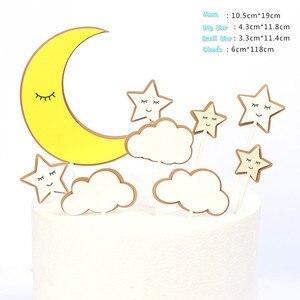 Image 5 - 1 Juego de pastel de fiesta de cumpleaños con tema de nubes y Luna y estrellas, decoración de feliz cumpleaños para tarta