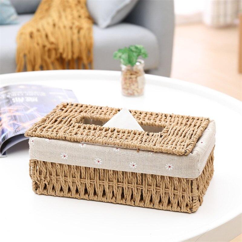 1Pc Fashion Handmade Bamboo Weave Tissue Box Household Napkin Storage Case Home Decoration