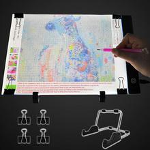 Podświetlana podkładka LED A4 do malowania diamentowego zasilana przez USB 5D akcesoria do haftu diamentowego tablica świetlna zestaw narzędzi tanie tanio East Floral Park diamond painting tools Paper Bag Trójwymiarowy Z tworzywa sztucznego Full Geometryczne Składane 1-30