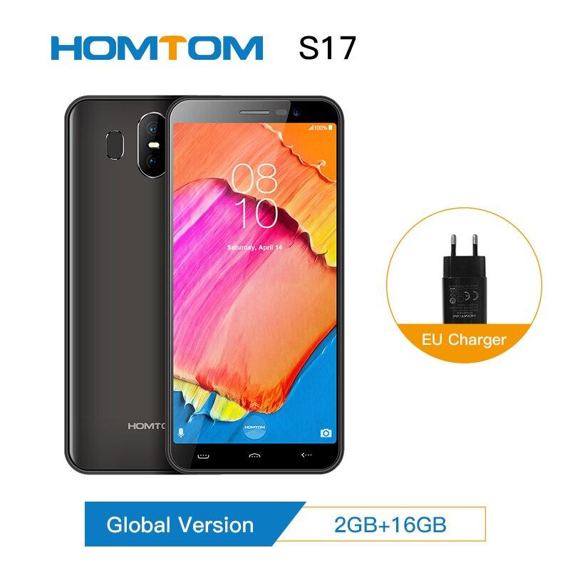 "HOMTOM S17 Android 8.1 Quad Core 5.5 ""18:9 affichage complet Smartphone empreinte digitale visage ID 2 GB RAM 16 GB ROM 13MP + 8MP téléphone portable"