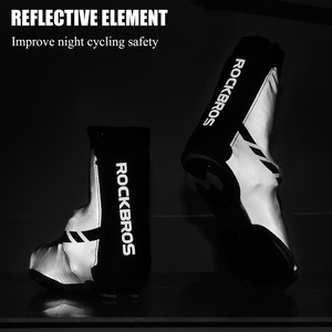Image 4 - ROCKBROS Road Bike Shoe Covers Cycling Waterproof and Windproof Overshoes MTB Winter Bicycle Reflective Fabric Toe Cover