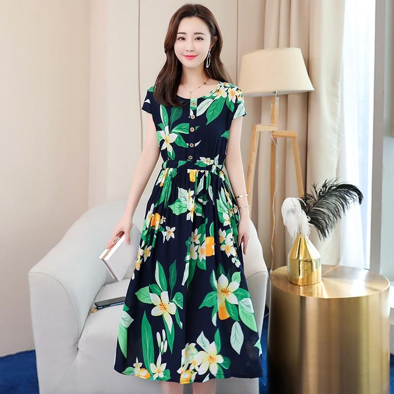 Summer Vintage Dress Women Plus Size 6XL Slim O-Neck Short Sleeve Women Elegant Dress Smuuer Casual Print Plaid Dresses Vestidos