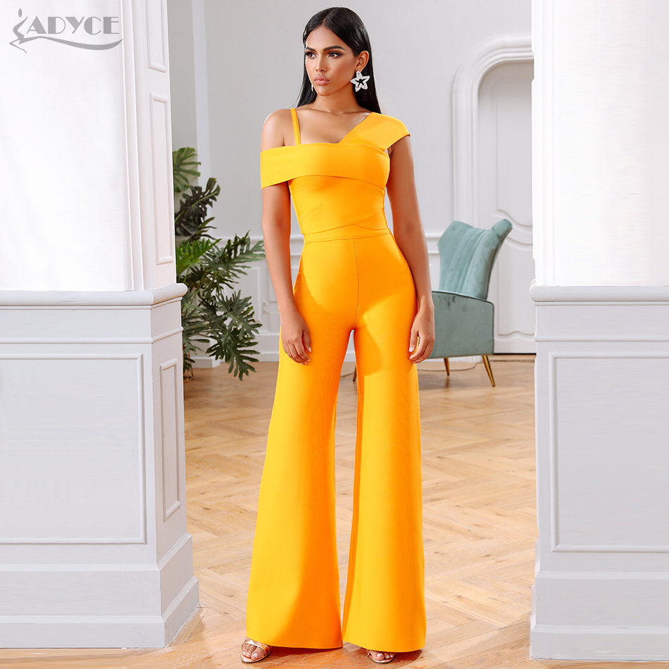Adyce 2019 New Summer Orange Two Pieces Sets Sexy Spaghetti Strap Short Sleeve Top& Long Pants Women Fashion Club Party Sets