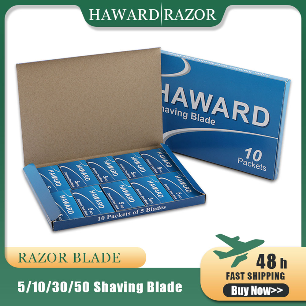 HAWARD Double Edge Shaving Blades 5/10/30/50 Pieces Safety Razor Blade Stainless Steel Straight Razor Blades For Shaving