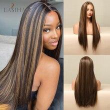 Easia59-Peluca de cabello sintético liso para mujeres negras, pelo largo oscuro, marrón, Rubio, resistente al calor
