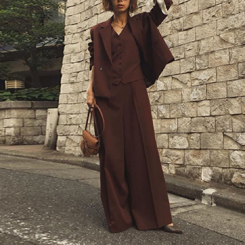 Three Piece Women Sets 2019 New Fashion Autumn Elegant Office Ladies Causal Blazer And Wide Legs Pants Suits Korean Causal Brown