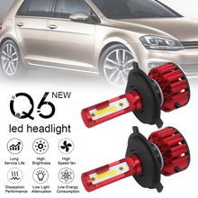 цена на 2pcs Q6 LED Headlight H4 9003 HB2 Q6 12000LM 6000K 120W DOB LED Car Headlight Kit Hi  Lo Light Bulb for Vehicles Cars