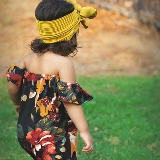 Niño chico bebé niña verano hombro ropa niño Flor de hoja verde impresión mono trajes