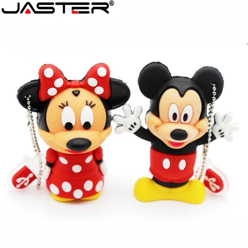 JASTER Lovely Mini Mouse Mickey And Minnie USB Flash Drive Pen Drive Gift Cartoon Pendrives 1gb/2GB/4GB/8GB/16GB/32GB