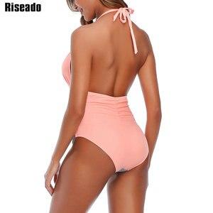 Image 2 - Riseado 섹시한 할터 수영복 여성 원피스 수영복 패치 워크 Beachwear 2020 스트라이프 수영복 Ruched Backless Bodysuit XXL
