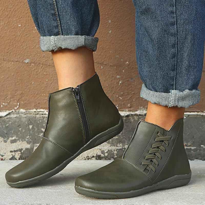 Kadın Vintage fermuar Pu deri düz çizmeler bahar kadın dikiş katı yarım çizmeler kadın rahat artı boyutu platform ayakkabılar bayanlar