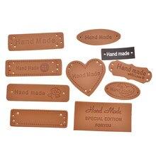 50 pz/pacco Fatto A Mano Lettera Indumento Per Le Etichette Da Cucire FAI DA TE Artigianale In Pelle Tag Per Borse Scarpe Decorazione Forniture