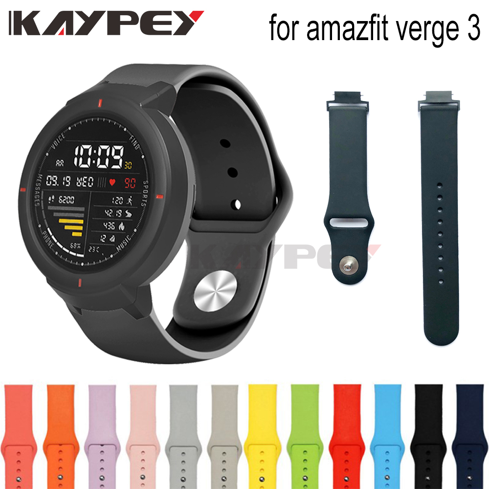 Soft Silicone Strap For Huami Amazfit Verge 3 Watch Strap Soft Silicone Watch Band Replacement Bands Bracelet Straps Sport Band