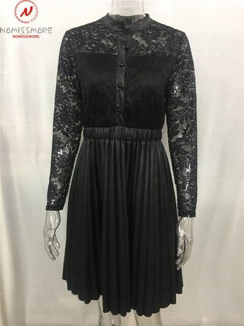 Sexy Women Spring Autumn A-Line Dress Patchwork Design Lace Decor See Through Stand Collar Long Sleeve Mid Waist Slim Dress 5