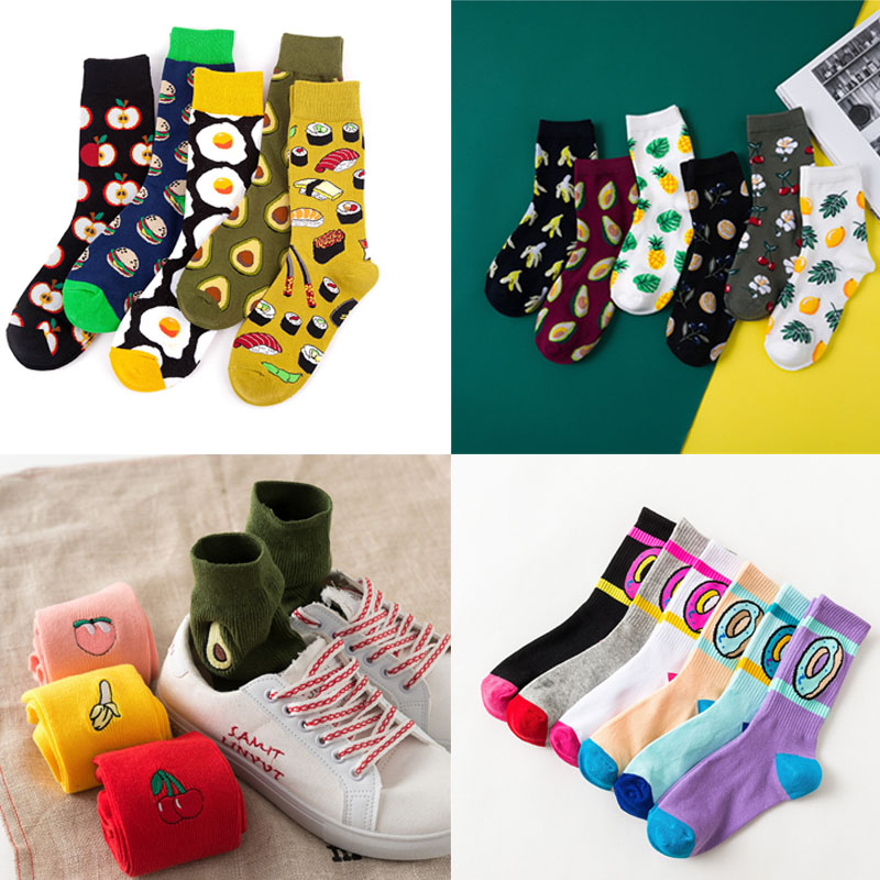 1pair Harajuku Happy Socks Unisex Funny Cartoon Korean Kawaii Fruit Embroidery Cute Sock For Women Winter Autumn Short Socks Sox