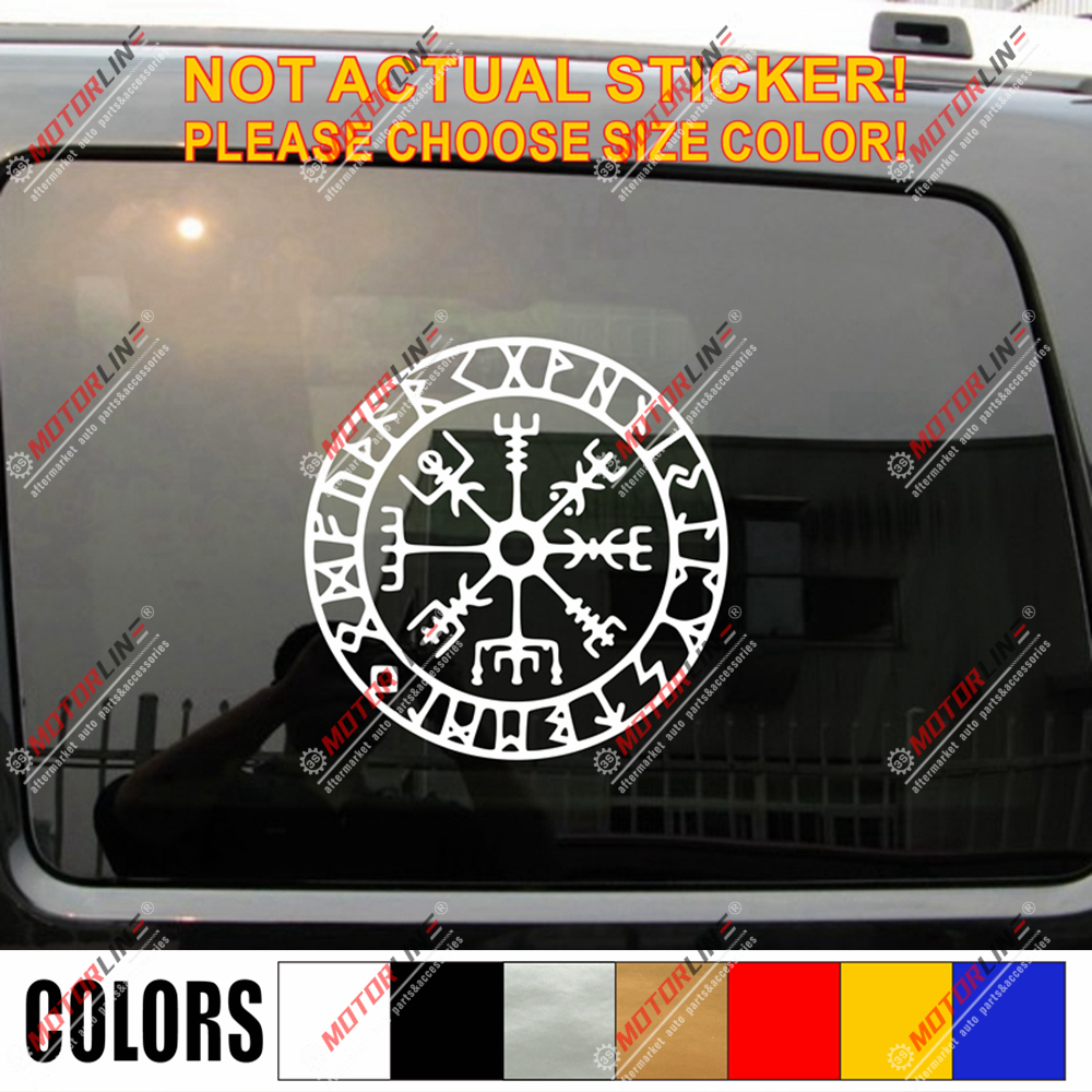 Set of 4 gold viking symbol stickers car window laptop decal runes norse