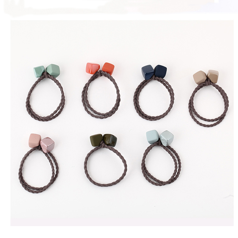 9 Colors Elastic Hair Bands Headbands Two Square Glossy Frosted Women Girls Hairband Children Hair Tie Accessories Rubber Band