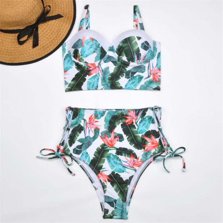 H91d98ac58aa249d085b73e6b06bf86e29 Bikini Push up 2019 Sexy Women Swimsuit Striped Patchwork Plus Size Swimwear Female Bandage Biquini Bathing suit Women