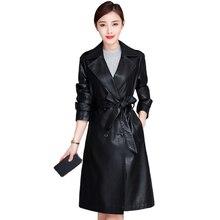 Autumn Winter Long Leather Jacket Women Plus Size Faux Leather Coat Female Fashion Turn-down Collar Women Windbreaker with Belt цены
